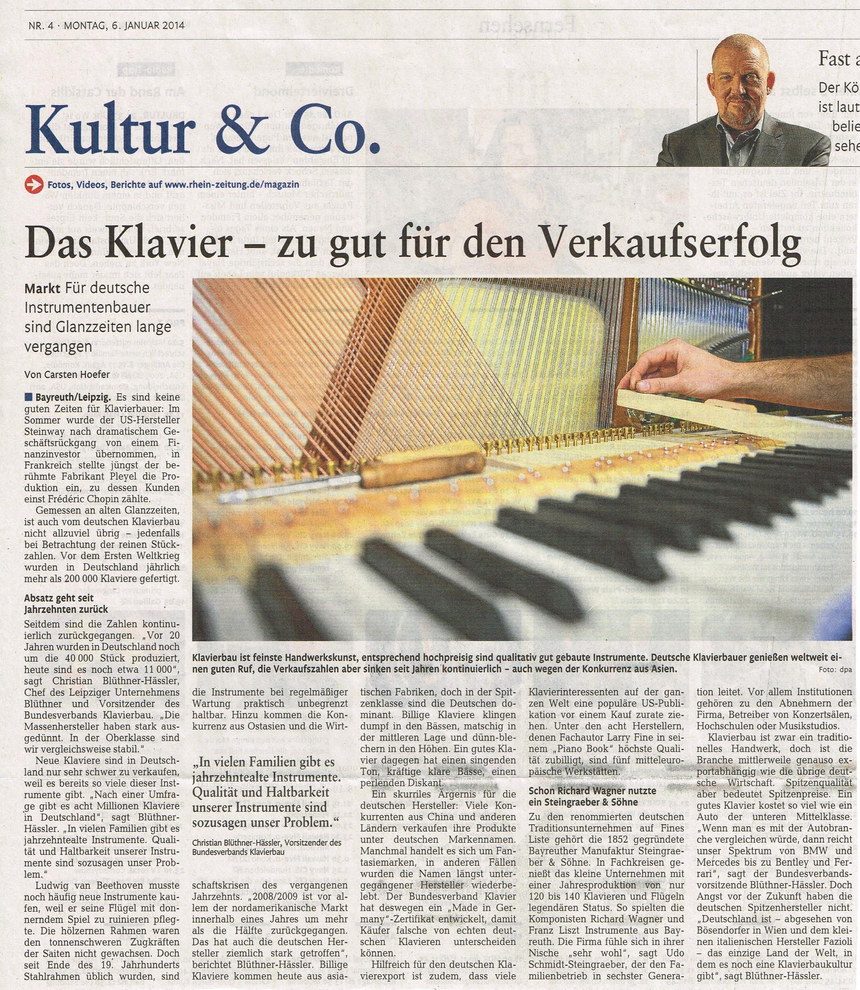 Das Klavier – zu gut für den Verkaufserfolg